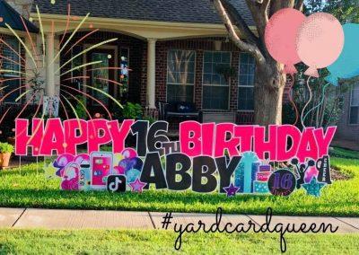 Yard Sign Rental Happy Birthday Abby Cute Sign