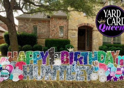 Happy Birthday Fun Glittery Sign For Front Lawn