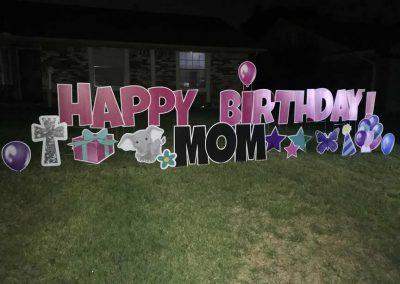 Happy Birthday Mom Yard Sign Rental Company