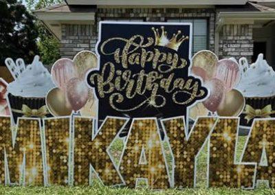 Fancy Birthday Yard Signs 25th Glitter