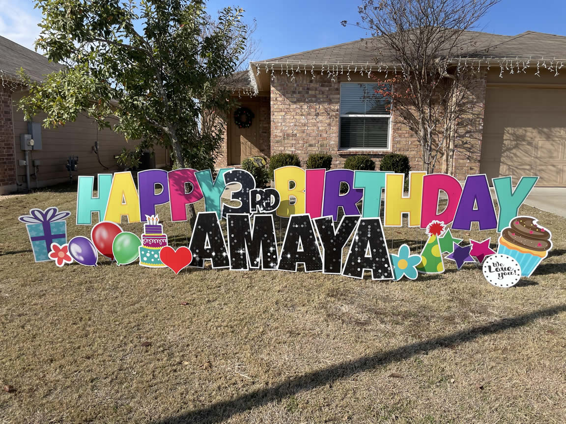 Female Happy Birthday Lawn Yard Sign
