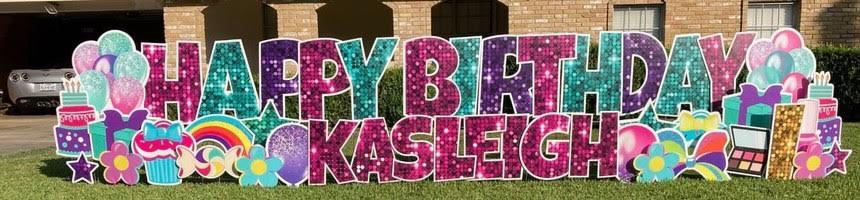 Glitter Happy Birthday Yard Sign