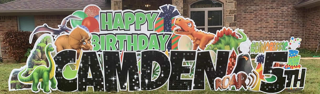 Happy Birthday Dinosaur Yard Signs