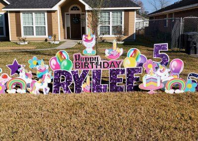 Happy Birthday Unicorn Theme Yard Signs