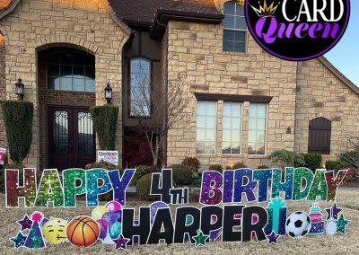 Happy Birthday Yard Sign With Sports Balls