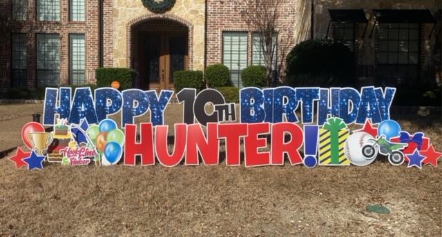 Happy Birthday Yard Signs Placed In Yard