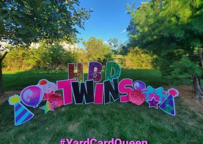 Happy Birthday Yard Sign For Twins