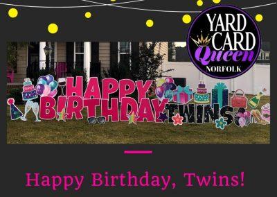 Twins Happy Birthday Yard Sign
