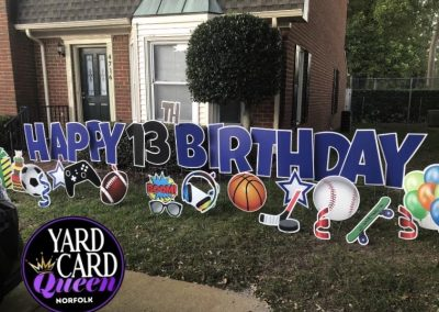 Sports Themed Happy Birthday Yard Sign Rental