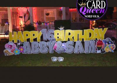 Norfolk Yard Signs Happy Birthday