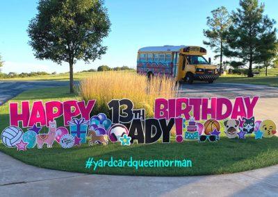 Teenage Themed Happy Birthday Yard Sign