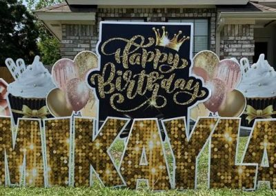 Fancy Birthday Yard Sign Rental in Richmond TX