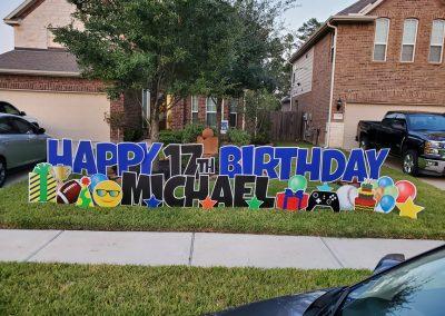 Boy Themed Birthday Yard Sign Rental