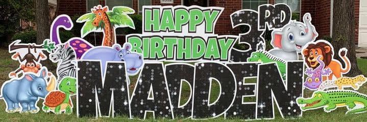 Zoo Animals Happy Birthday Yard Sign