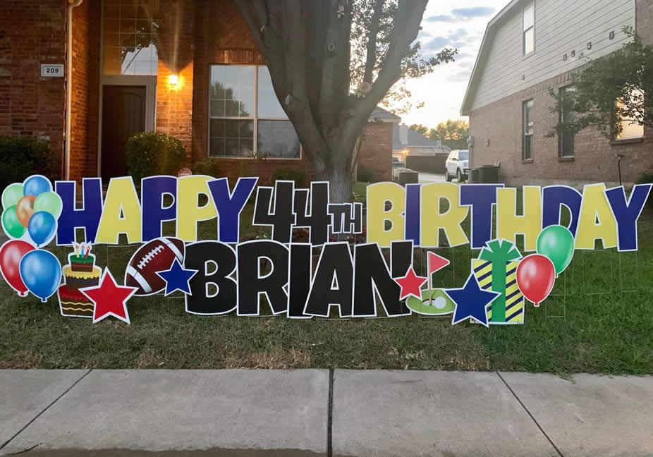 Happy Birthday Yard Sign Rental Company Denton, TX