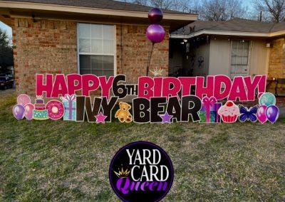 Happy 6th Birthday Celebration Yard Sign Mansfield, TX