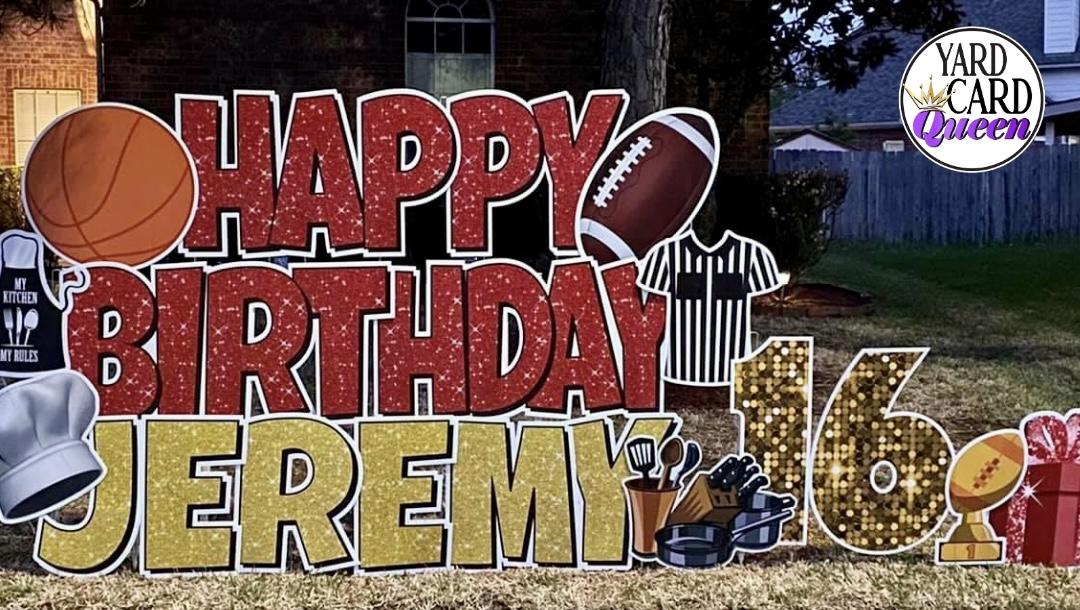 Happy Birthday Yard Sign Sports Theme