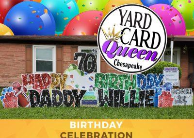 Happy 70th Birthday Yard Sign Rental Chesapeake Virginia